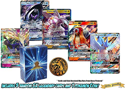 5 Legendary GX Ultra Rare Pokemon Cards | NO Duplicates | 1 Random Pokemon Coin | 100% Authentic Value Bundle | GG Box Assorted Pokemon Trading Card Lot & Bonus Coin