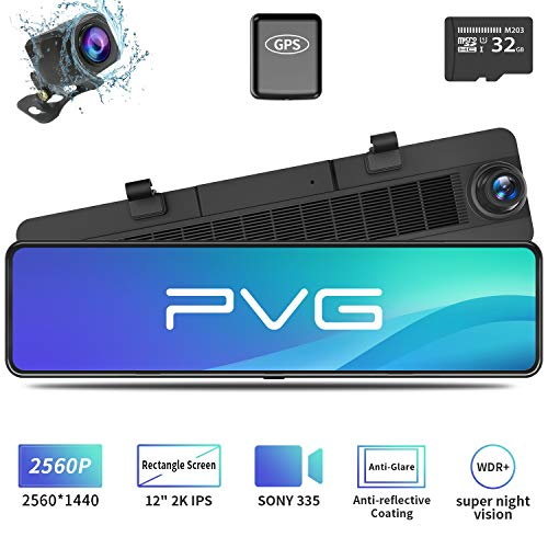 """Price comparison product image Mirror Dash Cam Car Backup Camera 12"""" 2K IPS Full Touch Screen 2560P+1080P Resolution Front and Rear View Dual Lens,  Adjustable Wide Angle,  WDR Night Vision,  Parking Monitor,  GPS & 32GB Card Included"""