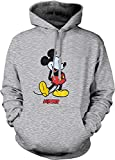 Mickey Mouse Hoodie Disney Graphic Adult Cool Pullover Hooded Sweatshirt (Sports Gray, Large)