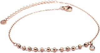 Les Trésors De Lily Q0914 - Tassello per catena in acciaio 'Chorégraphie' rosa dorato - perline 3 mm, strass 4 mm.