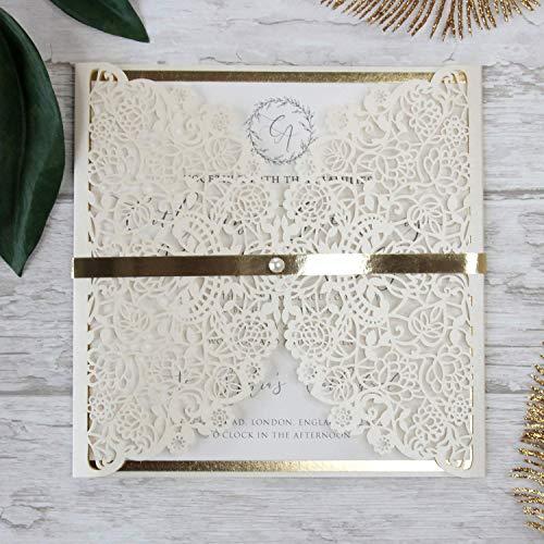 Einladungskarten Lasergeschnittene mit Spitze - Hochzeitskarten Einladungen edles Papier für Geburtstag, Hochzeit, Taufe, Scrapbooking (50 Stück + Kuvert)