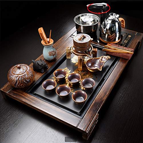 Tea Set,Tea Serving Tray Kung Fu Tea Set With Wood Automatic Kung Fu Tea Set, Solid Wood Tea Tray, Drainage Water Storage Chinese Kung Fu Tea Set Drawer Tea Room Board Table Ceremony Tools Tea Set
