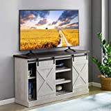 TV Stand Farmhouse Entertainment Center for TV's up to 60 inch-Wood Console Table Storage Cabinet with Sliding Barn Door | White Grey