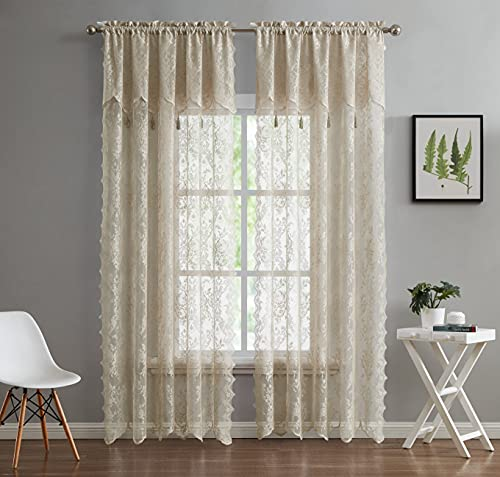 """LinenZone - English Rose Design - Lace Semi Sheer Voile Curtain Panels - Rod Pocket with Attached Valance and 4 Tassels Drapes - Set of 2 Total Width 108 inch (2 Panels 54"""" W x 63"""" L Each, Linen)"""