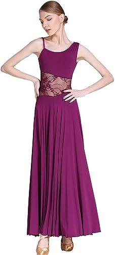 JINPENGRAN Applicable à la Robe de Bal des Dames en Satin élastique de Cou asymétrique cousant la Conception d'une Jupe,violet,L