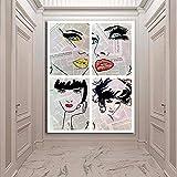 KWzEQ Arte gráfico Abstracto Cara Lienzo Pintura Retrato Cartel y Grabado Sala de Estar Pintura mural30X40cmPintura sin Marco