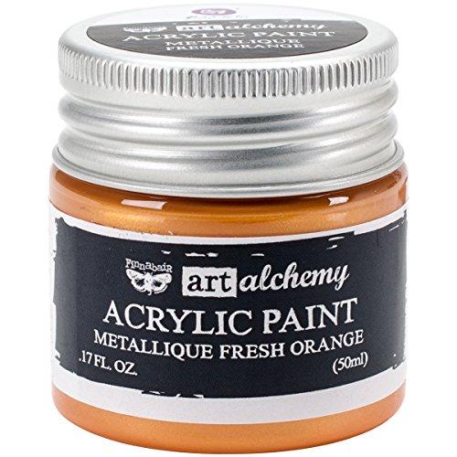 Prima Marketing Finnabair Art Alchemia farba akrylowa 1,7 uncji płynu - metaliczny świeży pomarańczowy, inny, wielokolorowy, 4,59 x 4,49 x 5,2 cm