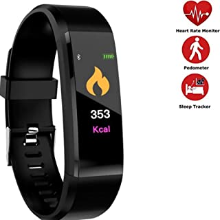 Qvena Fitness Tracker Watch, Heart Rate and Blood Pressure Monitor, Step Counter, Sleep Monitor, Waterproof, Calorie Counter. Men, Women and Kids. Black.