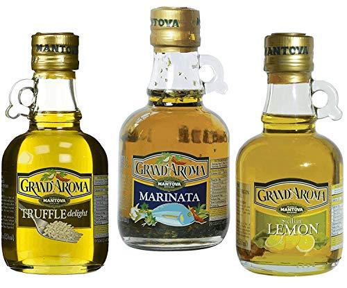 Mantova Grand'Aroma Extra Virgin Olive Oil Trio - Marinata, Truffle and Sicilian Lemon (Pack of 3)
