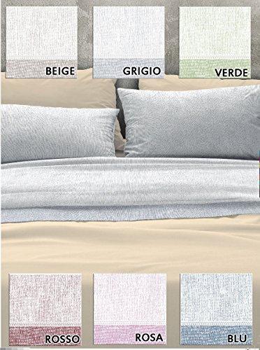 Centesimo Web Shop Bettwäsche Flanell Warm Baumwolle in 3Größen Fantasie Klassische Kuriertasche Melange Uni–Eine Für Einzelbett Beige Due piazze blau