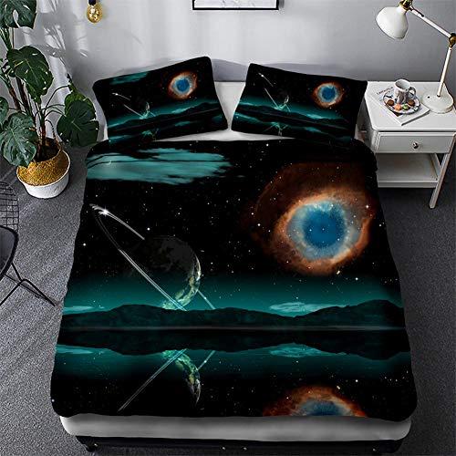 Timiany Ropa De Cama 3D Galaxy Microfibra Edredón 155 × 200 Juego De Cama 3 Piezas, Fundas Nórdicas con Cremallera Y 2 Fundas De Almohada 50x75cm (Universo,155x220+50x75)