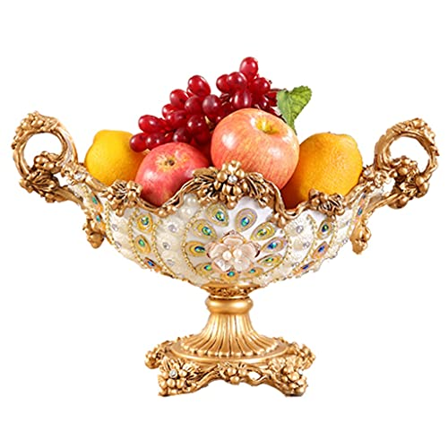 XYF Fruit Plate European-style Fruit Plate Home Creative Luxury Dried Fruit Plate Candy Plate High-end Coffee Table Decoration Reusable Glass Dessert Stand (Color : Colourful, Size : 40x40x26 cm)
