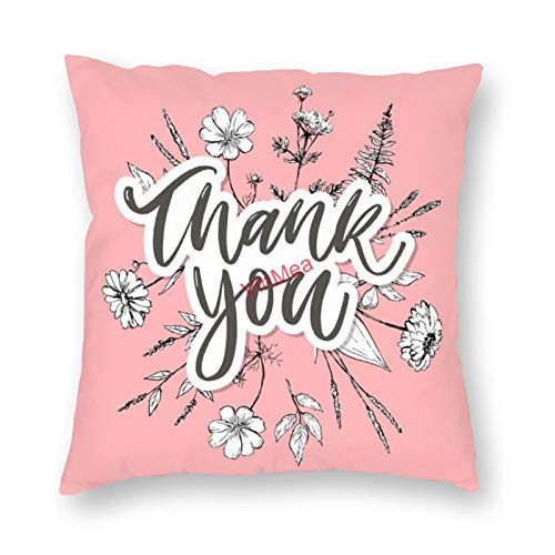 VinMea Decorative Pillow Covers Thank You Cushion Covers for Sofa Bedroom Home Office Decor 16x16 Inch