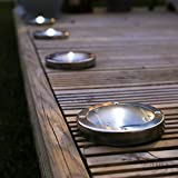 Festive Lights Solar Decking Lights - Pack of 4 - Stainless Steel - Solar Powered - Wireless - 11cm