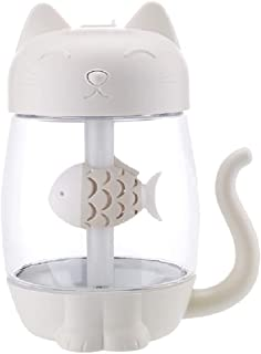 USB Silent Cat Mist Humidifier, 3 in 1 Design-Polymer Water Mist, 6 Color Vency Controllable Night Light, USB Small Fan, f...