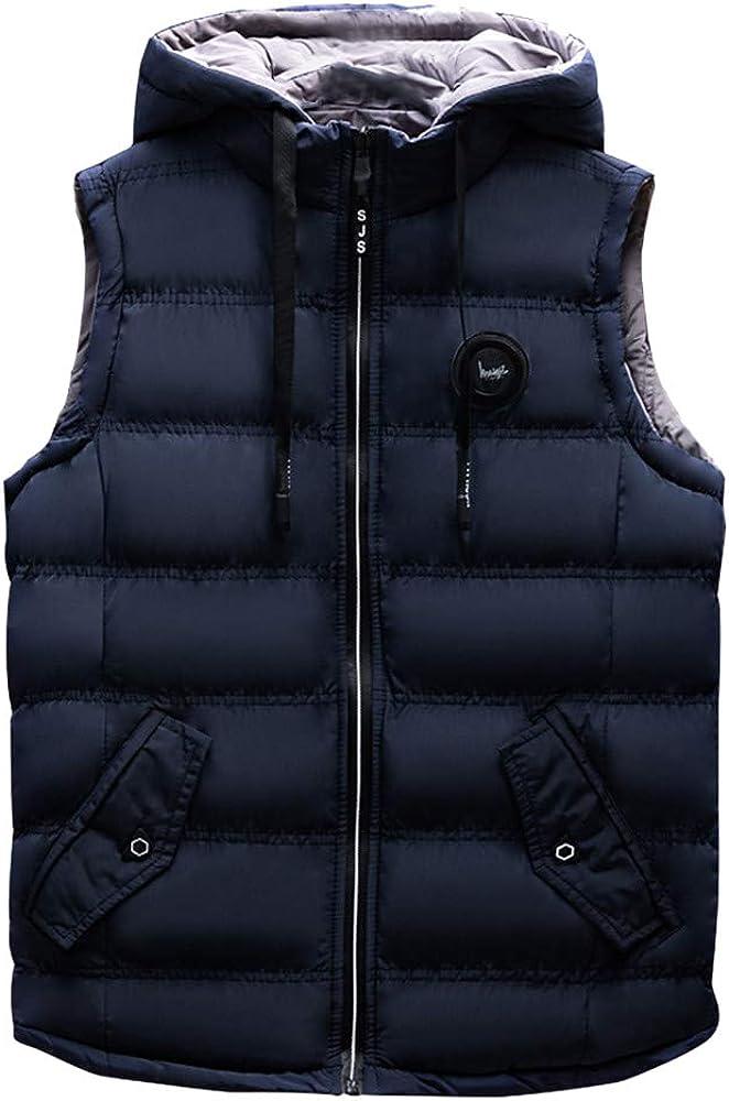 MODOQO Men's Warm Winter Vest Padded Coat Sleeveless Hooded Zipper Jacket
