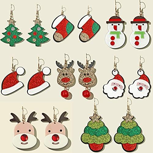 WANGGW 8 Pares De Pendientes Especialmente para Mujeres Árbol De Navidad Calcetines...