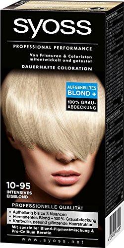 Syoss Professional Performance Haarfarbe/ intensives Eisblond/ 10-95/ 100% Grauabdeckung/ aufgehelltes Blond +/ Dauerhafte Coloration