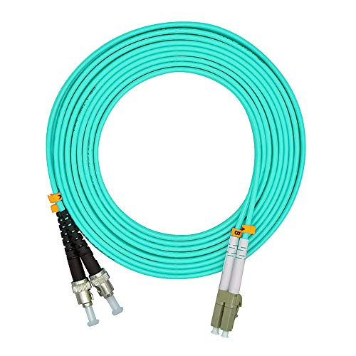 Jeirdus 10 Meters 33ft LC to ST Duplex 50/125 10G OM3 Multi-Mode Fiber Optic Cable Jumper Optical Patch Cord LC-ST