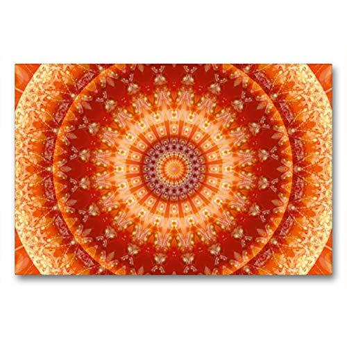 Premium Textil-Leinwand 90 x 60 cm Quer-Format Mandala Lebensfreude | Wandbild, HD-Bild auf Keilrahmen, Fertigbild auf hochwertigem Vlies, Leinwanddruck von Christine Bässler