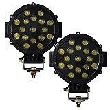AUXTINGS 7 pollici 2 pezzi 51W Spot LED Work Light Bar Luci di guida fuoristrada per camion SUV UTV (nero, 18 cm)