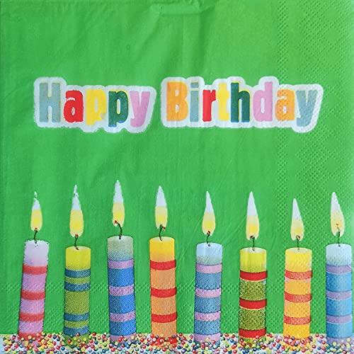 20 Stück, Happy Birthday Servietten 33 x 33 cm mit bunten Kerzen und grünem Hintergrund für Ihre Geburtstagparty und Tischdekorationen (Happy Birthday (grün))