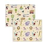 Qagazine Tapis de jeu pour bébé – Tapis rembourré non toxique pour bébé, tapis de jeu imperméable pliable tapis de sol pour bébé, antidérapant
