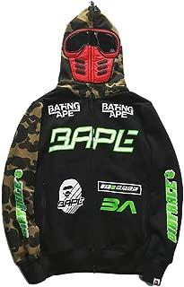 QYS Big Mouth Shark Ape Bape Camo Mens Women Hoodies Sweatershirt Casual Zip Up Hip-Hop Funny Tops,L