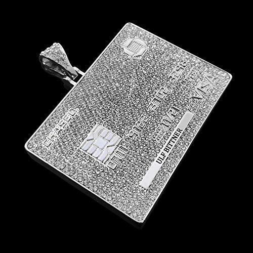 Collana Hip Hop con Carta di Credito VIP Collana con Catena Hip Hop da 60 cm Regalo AAA con pavé di Pietra di Vetro Whitecolor