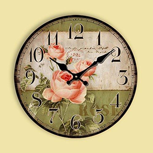D dolity Fácil cuarzo 12H Reloj de pared Reloj de cuarzo Madera...