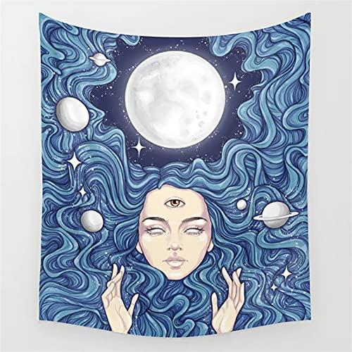 Tapiz de tarot Boho para colgar en la pared de la fase lunar mágica Tapices de mano para decoración de dormitorio, colcha para decoración de pared (color: L, tamaño: 95 x 73 cm)