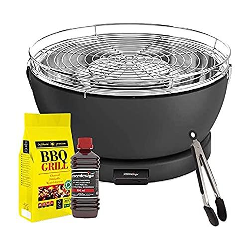 Feuerdesign Barbecue 'Vesuvio' con pinza, gel accendifuoco e carbonella Diametro 33 cm (nero)