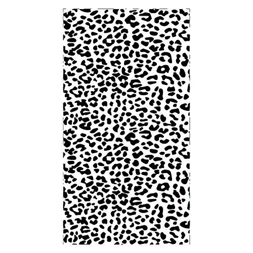 Toalla de Playa de Microfibra Marcas de Leopardo en Blanco y Negro Toallas Baño Secado Rapido Piscina, Super Absorbente, Manta Playa, Toalla Yoga Deporte Gimnasio 80x160cm