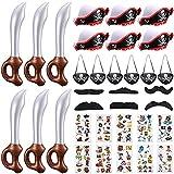 Favores de Fiesta Pirata Juguetes de Caja de Cofre de Tesoro con Espadas Piratas Inflables Parche de Ojo de Capitán Sombrero de Pirata Bigotes Tatuajes Temporales Piratas para Halloween