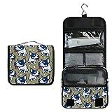 ALARGE - Bolsa de aseo para colgar, diseño de bulldog francés, grande, portátil, bolsa de maquillaje, organizador para mujeres y hombres