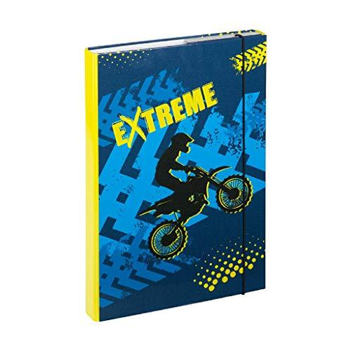 Baagl Heftbox für Schulranzen A4 - Sammelmappe für Kinder mit Gummiband und Innenklappen - Heftmappe, Sammelbox mit Gummizug für Jungen (Extreme)