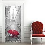 OuYou 3D Sticker de Porte Parapluie Tour Eiffel Trompe l'oeil PVC Imperméable pour Chambre Salle de Bain Cuisine Décoration...