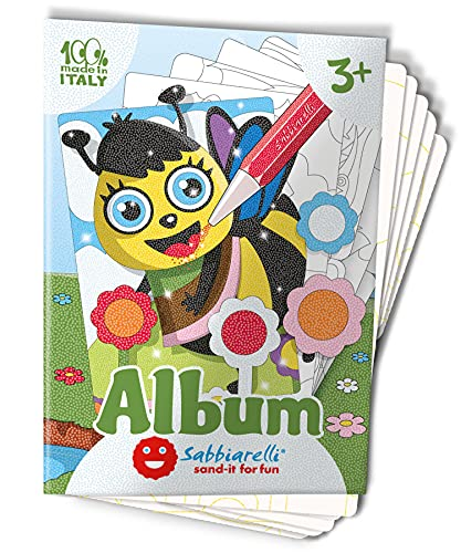 Sabbiarelli Sand-it for Fun - Album Animali da Giardino: 7 Disegni Adesivi da Colorare con la Sabbia (Non Inclusa), Adatto per Adulti e Bambini Anni 3+