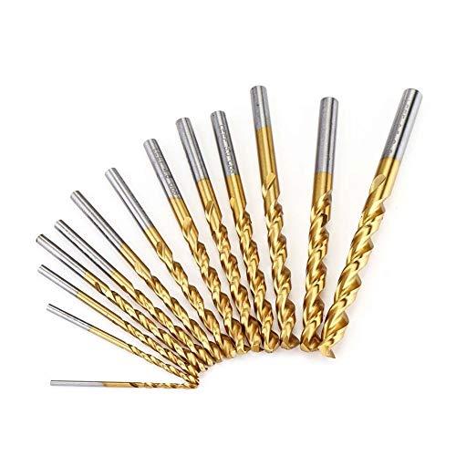 Heinside Comfortable 13Pcs Titanium Coated M42 Twist Drill Bit 8% High Cobalt Drill Bit Set Industrial Grade 1.5-6.5mm for Metal Wood Drill Bits Strong (Color : Gold)