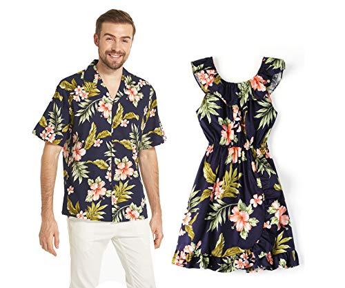 Hecho en el Hawaii Que Hace Juego la Camisa de Luau de la Hija del Padre y el Vestido del Abrigo en Hibisco Rosado de la Marina de Guerra M-2