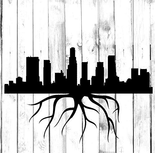 H421ld Calcomanía de raíces horizontales de Los Ángeles – Di Cut – Yeti, vaso, botella de agua, hogar, computadora portátil, computadora, camión, calcomanía de parachoques de coche