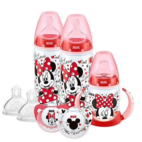 NUK Disney Babyflasche, Schnuller & Schnabeltasse, 6-18 Monate, Minnie Mouse-Design, mit 2 Babyflaschen, 1 Lernschale, 2 Silikonschnuller & 2 Silikon-Sauger (Der Entwurf kann verieren)