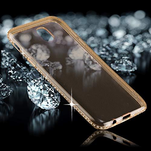 YANTAIAN For Samsung Galaxy J5 (2017) (Versión de la UE) Diamond Border TPU Funda Protectora de contraportada Transparente (Color : Gold)