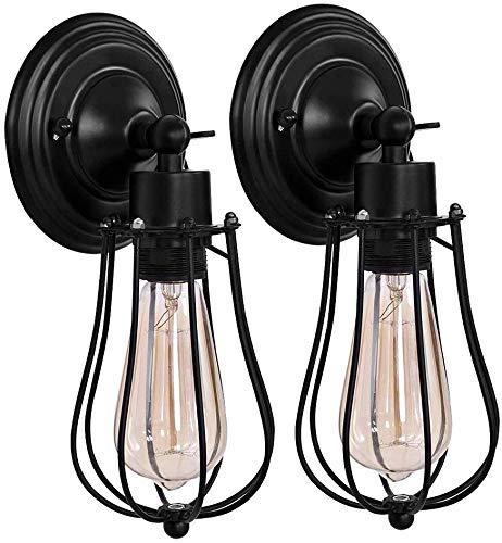 Lámpara de pared rústica con jaula de alambre, color negro, industrial, estilo vintage, para decoración del hogar, dormitorio, granja, porche, garaje (único)