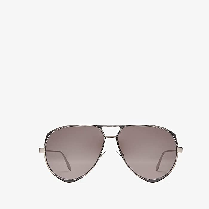 Alexander McQueen  AM0204S (Shiny Dark Ruthenium/Solid Grey) Fashion Sunglasses