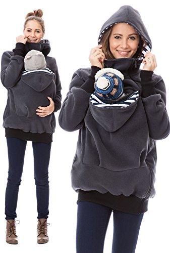 GoFuture Damen Tragejacke für Mama und Baby Känguru Klassiker VIVA GF2301XI5 Graphit mit marineweißen Streifen - 4