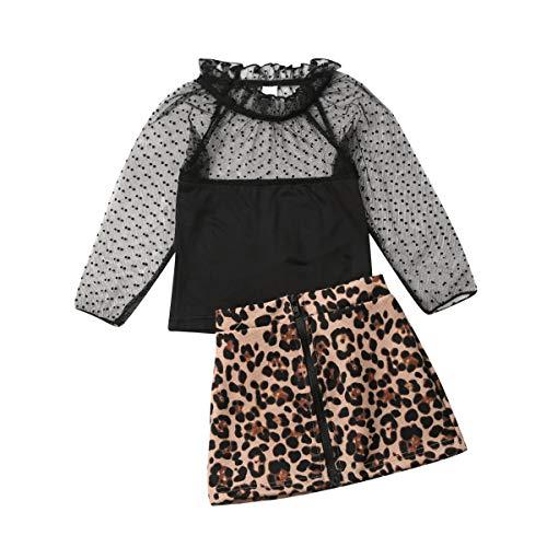 Moo RUNI Kleinkind Baby Schwarz Spitze Oberseiten Leopard Reißverschluss Minirock für 1-5 Jahre Mädchen (Black, 2-3 Years)