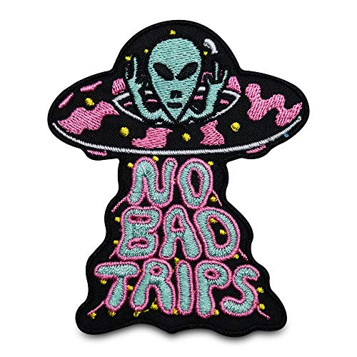 Finally Home No Bad Trips UFO Patch zum Aufbügeln | Alien Patches, Bügelflicken, Flicken, Aufnäher