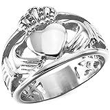 MunkiMix Acero Inoxidable Anillo Ring Plata Tono Nudo Celta Irlandesa Amistad Amor Claddagh irlandés Corazón Heart Real Rey Corona Talla Tamaño 20 Hombre