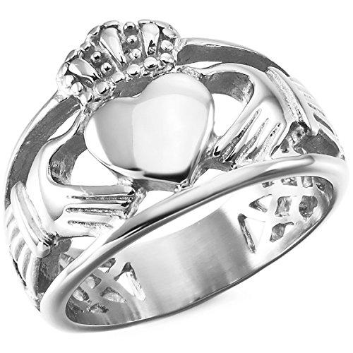 MunkiMix Acero Inoxidable Anillo Ring Plata Tono Nudo Celta Irlandesa Amistad Amor Claddagh irlandés Corazón Heart Real Rey Corona Talla Tamaño 32 Hombre